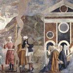 Пьеро делла Франческа Цикл фресок на сюжет легенды о Животворящем кресте в хорах церкви Сан Франческо в Ареццо. Обретение и узнавание Животворящего креста в Иерусалиме 1452-1466 Фреска Ареццо. Сан Франческо