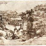 Леонардо да Винчи Пейзаж долины Арно 1473 193 х 285 мм Перо коричневым тоном, на бумаге Флоренция. Галерея Уффици, Кабинет рисунков и гравюр