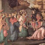 Боттичелли, Сандро Поклонение волхвов Около 1472 50 x 136 см Дерево, темпера Лондон. Национальная галерея Возможно, совместная работа с Филиппо Липпи