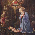 Липпи, Фра Филиппо Поклонение младенцу и св. Бернард Около 1459 127 x 116 см Дерево Берлин. Картинная галерея