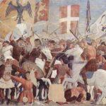Пьеро делла Франческа Цикл фресок на сюжет легенды о Животворящем кресте в хорах церкви Сан Франческо в Ареццо. Прославление Креста по его водворении в Иерусалим императором Ираклием 1452-1466 Фреска Ареццо. Сан Франческо