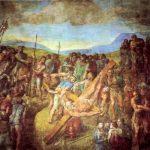 Микеланджело Буонаротти Распятие Св. Петра 1545-1550 625 x 661 см Фреска Рим. Капелла Паолина