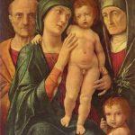 Мантенья, Андреа Святое семейство со св. Елизаветой и младенцем Иоанном Последняя треть 15 века 75 x 61 см Холст Дрезден. Картинная галерея