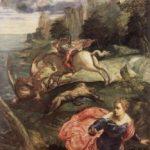 Тинторетто, Якопо Св. Георгий и дракон Около 1560 158 x 100 см Холст, масло Лондон. Национальная галерея