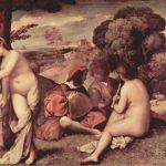 Джорджоне Сельский концерт 1500-1510 110 x 138 см Холст Париж. Лувр С равной достоверностью приписывается Джорджоне и Тициану Вичелио