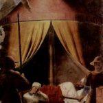 Пьеро делла Франческа Цикл фресок на сюжет легенды о Животворящем кресте в хорах церкви Сан Франческо в Ареццо. Сон Константина 1452-1466 Фреска Ареццо. Сан Франческо