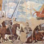Пьеро делла Франческа Цикл фресок на сюжет легенды о Животворящем кресте в хорах церкви Сан Франческо в Ареццо. Триумф Константина. Битва у Мульвийского моста 1452-1466 Фреска Ареццо. Сан Франческо