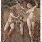 Рафаэль Санти. Станца делла Сеньятура в Ватикане. Фреска в плафоне (фрагмент). Адам и Ева. 1508