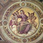 Рафаэль Санти. Станца делла Сеньятура в Ватикане. Фреска в плафоне (фрагмент). Юстиция. 1508