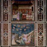 Джотто ди Бондоне. Цикл фресок капеллы Арена в Падуе (капелла Скровеньи), общий вид стены, сцена вверху. Свадьба в Кане Галилейской; сцена внизу. Оплакивание. 1304-1306
