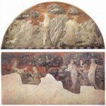 Учелло, Паоло Цикл фресок на темы Ветхого завета в крытой галерее Санта Мария Новелла во Флоренции [01], сцена в люнете: Сотворение животных и Адама. Сцены на стене: Сотворение Евы и Грехопадение (фрагменты) Около 1430 244 x 478 см Фреска, переведенная на холст Флоренция. Санта Мария Новелла
