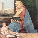 Джорджоне Читающая мадонна Около 1500-1510 76 x 60 см Дерево Оксфорд. Музей Эшмолеан На заднем плане площадь св. Марка в Венеции