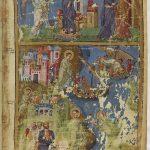 наверху Благовещение, Встреча Девы Марии с праведной Елизаветою, внизу Бегство пророка Ионы и его проповедь в Ниневии