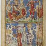 наверху Суд царя Соломона, внизу Христос и Самаряныня , Христос исцеляет прокаженных