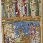 наверху Три святителя, внизу Иов на гноище