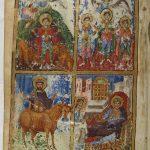 наверху пророк Даниил во рву с львами, Три отрока в пещи огненной. внизу царь Манассия, пророк Исайя и царь Езекия