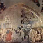 Пьеро делла Франческа Цикл фресок на сюжет легенды о Животворящем кресте в хорах церкви Сан Франческо в Ареццо. Смерть и погребение Адама 1452-1466 Фреска Ареццо. Сан Франческо