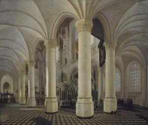 L'ambulatoire de la Nouvelle Église de Delft, avec la tombe de Guillaume le Taciturne, Gerard Houckgeest, vers 1651