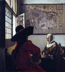 Офицер и смеющаяся девушка. 1657—1659. Коллекция Фрика. Нью-Йорк
