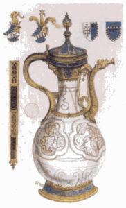Ваза Фонтхилл, сделанная в Цзиндэчжэнь, Китай, один из самых ранних образцов китайского фарфора, известных в Европе, 1338 г Музей Виктории и Альберта