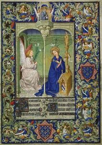 Прекрасный часослов герцога Беррийского. н. XV в. Les Belles Heures Лист 30 Благовещение. Лимбурги. Метрополитен