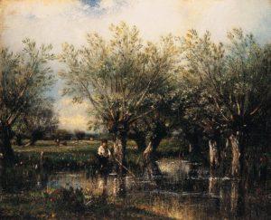 Дюпре. Ивы и рыбак 1867