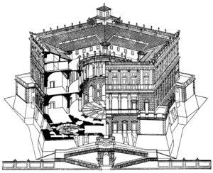Виньола. Замок Капрарола близ Витербо. После 1559 г. Аксонометрия