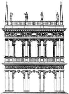 Якопо Сансовино. Библиотека Сан Марко в Венеции. Начата в 1536 г. Торцовый фасад