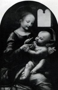 Леонардо да Винчи. Мадонна с цветком («Мадонна Бенуа»). 1470-е гг. Ленинград, Эрмитаж.