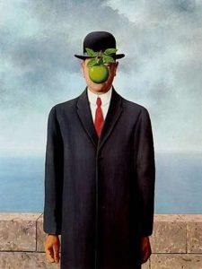 Рене Магритт. Сын человеческий. 1964. Le fils de l'homme. Холст, Масло. 116 × 89 см. Частная коллекция