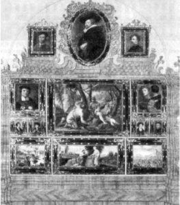 Фрагмент интерьери картинной галереи в Шталльбурге. В верхнем ряду — «Автопортрет» Рубенса, заключенный в овальную раму
