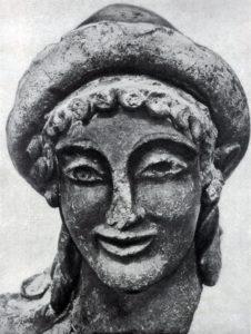 Голова Гермеса из Вей. Глина. Около 500 г. до н. э. Рим. Вилла папы Юлия.