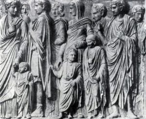 Рельеф с Алтаря мира Августа. Мрамор. 13—9 гг. до н. э. Флоренция. Уффици.