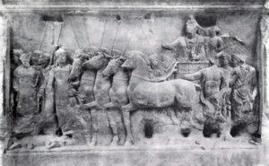 Триумф Тита. Рельеф с арки Тита в Риме. Мрамор. 81 г. н. э