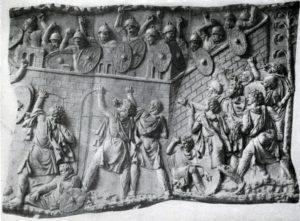 Колонна Траяна в Риме. Фрагмент рельефа.