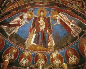 Богоматерь с ангелами. Церковь Богоматери Аракиотиссы в Лагудера