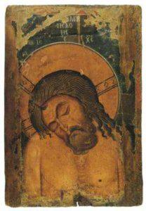 Двусторонняя икона с образом Богоматери Одигитрии на лицевой стороне. Кастория. Оборотная сторона - Христос во гробе