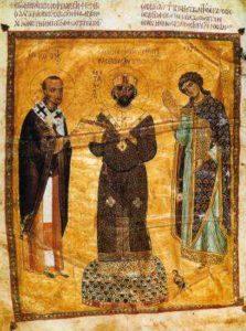 Император Никифор Вотаниат между св. Иоанном Златоустом и Архангелом Михаилом. Слова Иоанна Златоуста