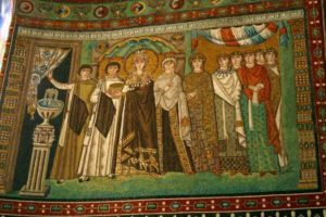 Императрица Феодора с окружением. Мозаики Сан Витале