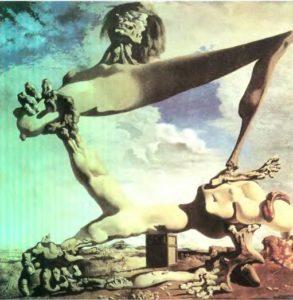 Мягкая конструкция с вареными бобами - предчувствие Гражданской войны. Холст, масло. 1936