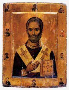 Св. Николай Мирликийский со святыми на полях. Монастырь св. Екатерины на Синае