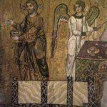 Христос и ангел в диаконских одеждах. Фрагмент композиции Евхаристия. Михайловский Златоверхий монастырь