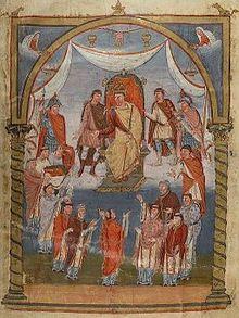Братия турского аббатства св. Мартина преподносит Библию королю Карлу. Миниатюра на листе 423