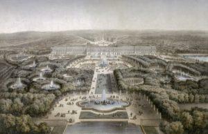 Вид на парк Версаля с высоты птичьего полета. XIX век