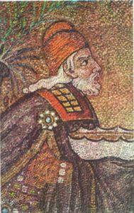 Голова волхва. Фрагмент мозаики «Поклонение волхвов» в нижнем ярусе центрального нефа церкви Сант Аполлинаре Нуово в Равенне, VI в