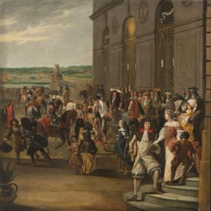 Людовик XIV, верхом на лошади, перед гротом, за которым следуют монсеньер и часть двора в 1670 году.