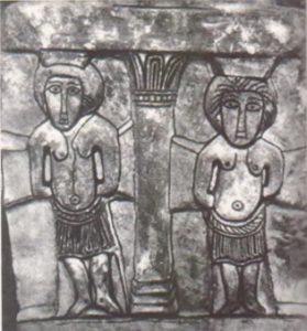 Два разбойника у подножия креста. Рельеф в гипогее аббата Меллебода близ Пуатье, конец VII в.