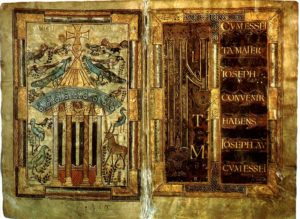 Евангелие Годескалька. Фонтан жизни и инициал