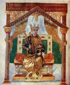 Карл Лысый. Миниатюра из «Псалтыри Карла Лысого» (842—869 годы)