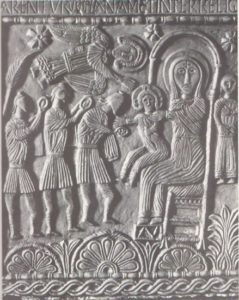 Поклонение волхвов. Рельеф алтари герцога Ратхиса. 731—734 гг Чивидале, церковь Сан Мартино